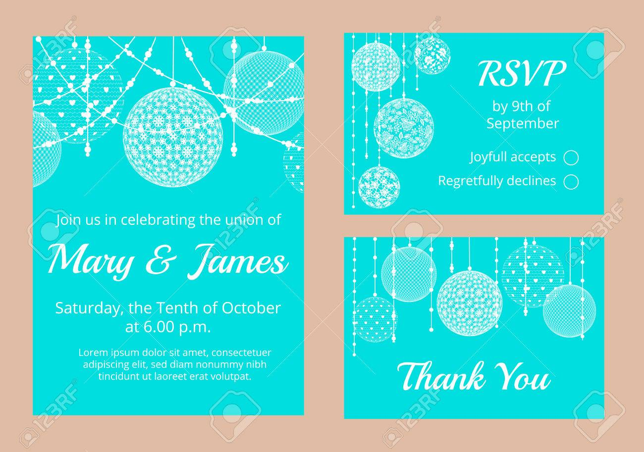 Templates For Wedding Invitation Cards With Lace Baubles Decoration