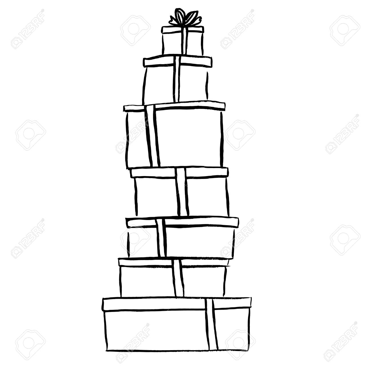 Stack of christmas gifts ink outline hand drawn sketch isolated ink outline hand drawn sketch isolated on white clip art voltagebd Image collections