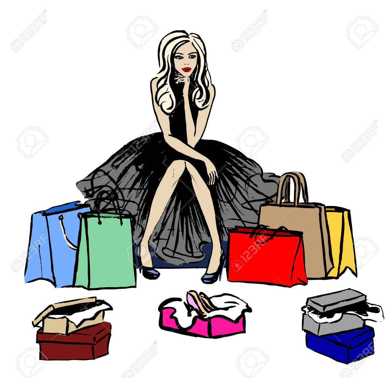 Fashion Illustration Of Woman Thinking In Shop With Shopping