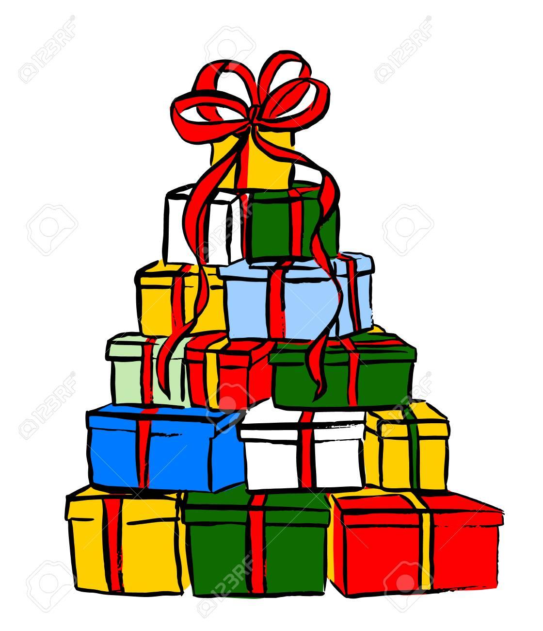 Pile De Cadeaux De Noël. Esquisse à L'encre Isolée N Blanc. Clipart Clip Art Libres De Droits , Vecteurs Et Illustration. Image 49590145.