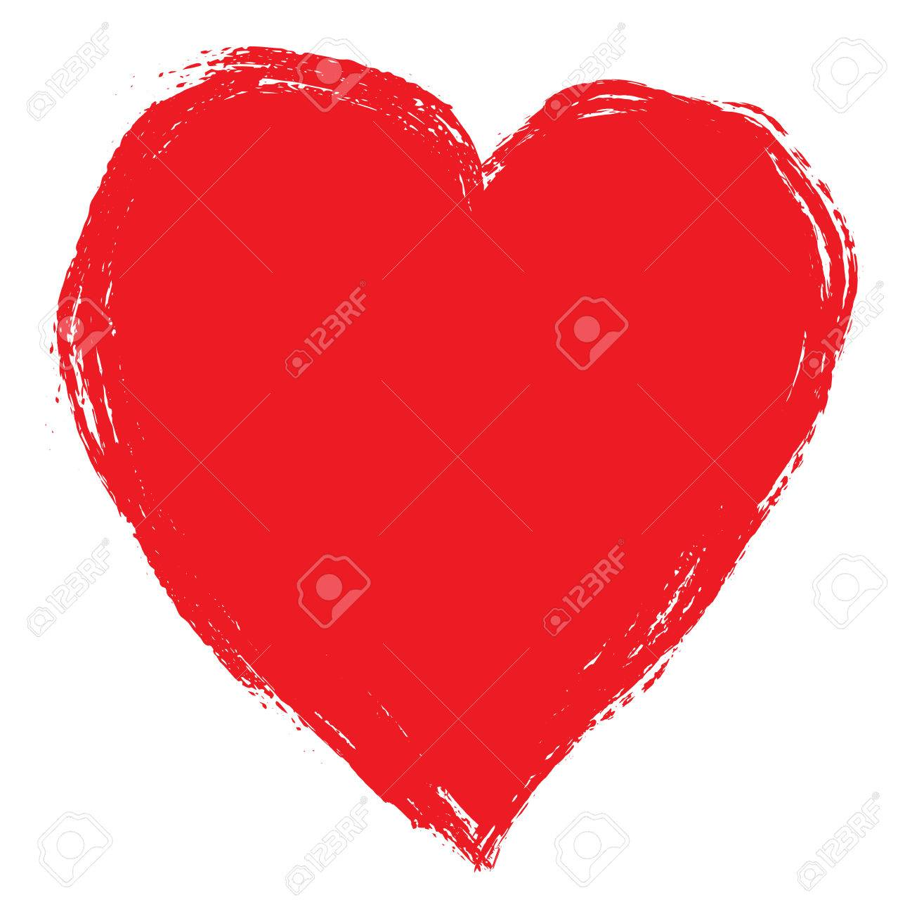 Hand drawing red heart isolated on white. Clip art - 50442223