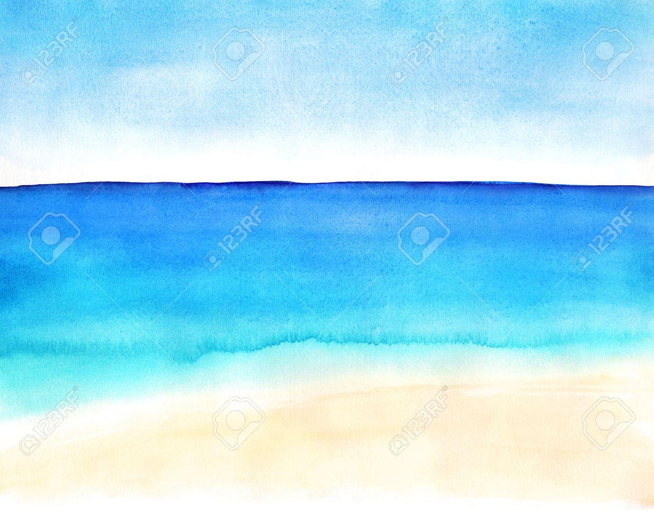 白砂のビーチと海の水彩手描き風...