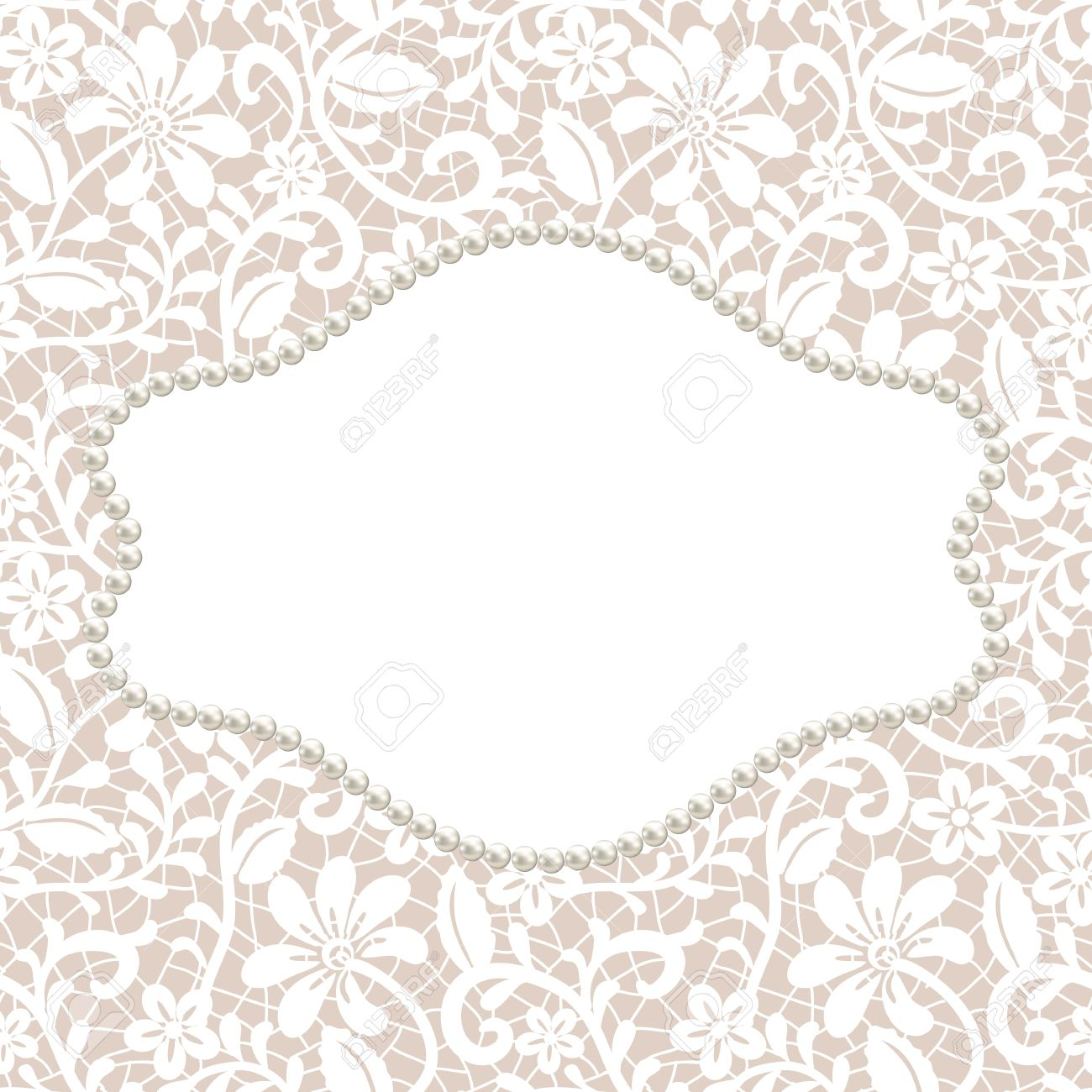 vector white lace with floral pattern and pearl frame on beige background