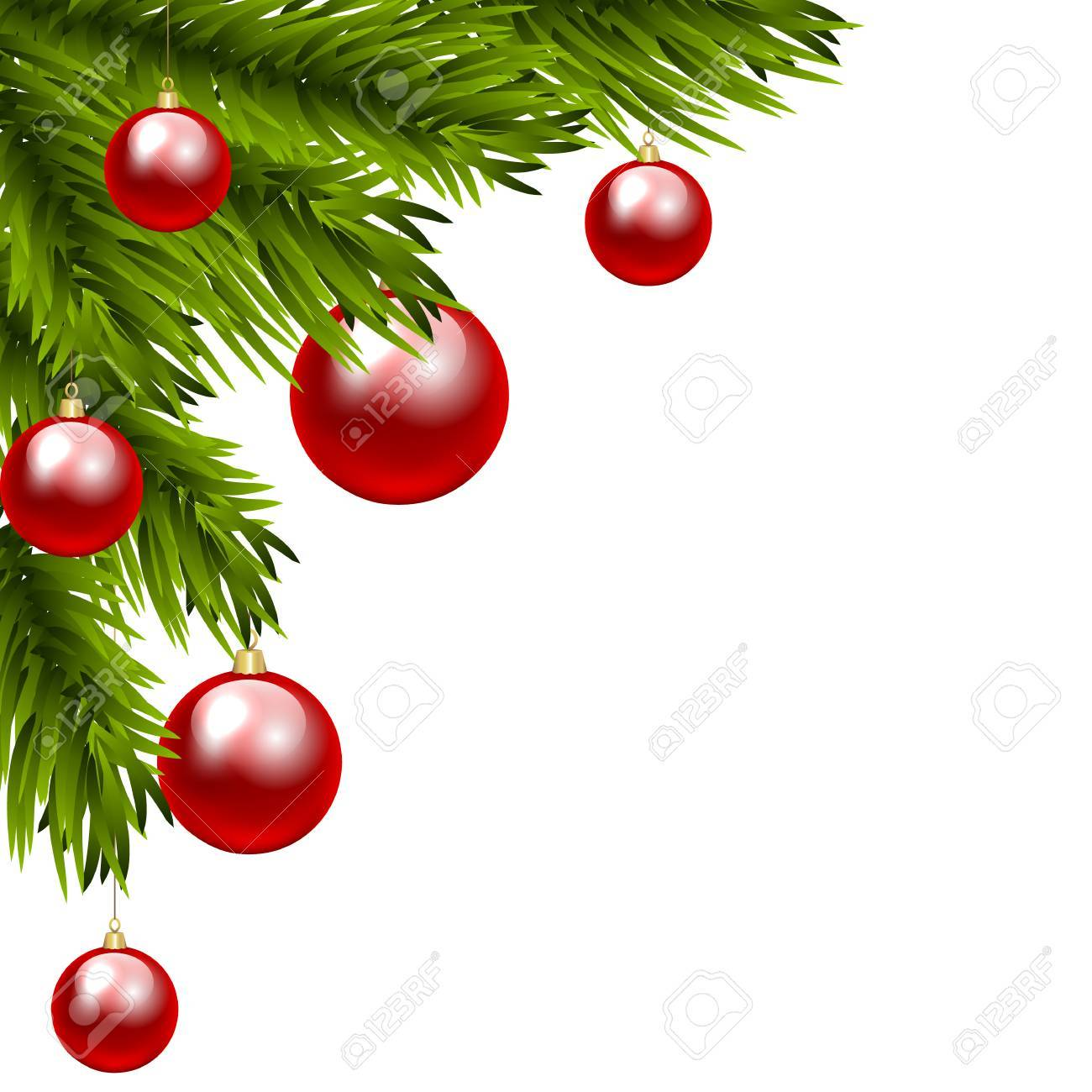 christmas tree branch with three colorful baubles clip art royalty rh 123rf com christmas tree branch clipart