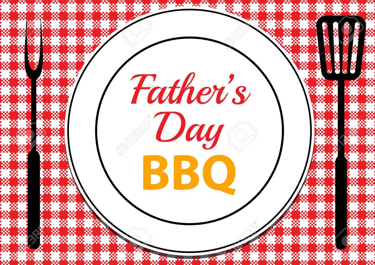Tarjeta De Invitación Para Barbacoa Día De Padres Con El Mantel Y La Placa Sobre La Mesa