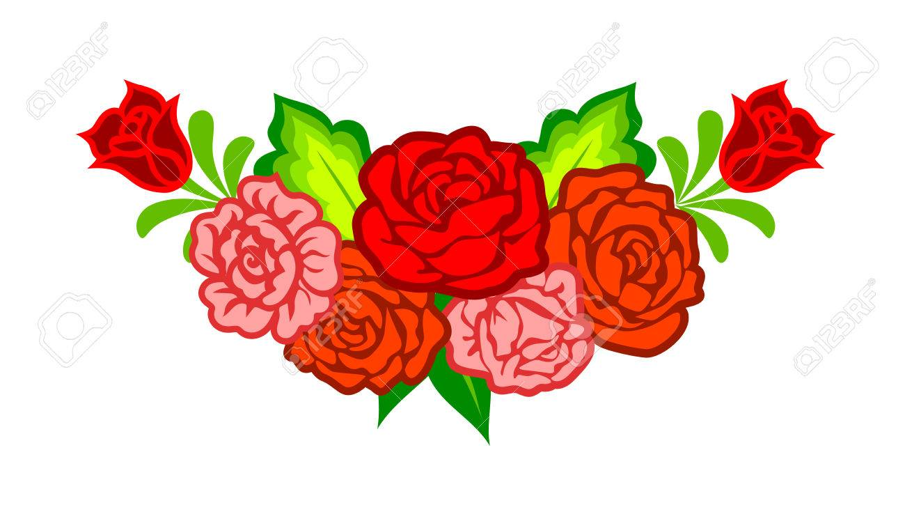Flores Mexicana Decoracion Floral Con Rosas Aislados En Blanco
