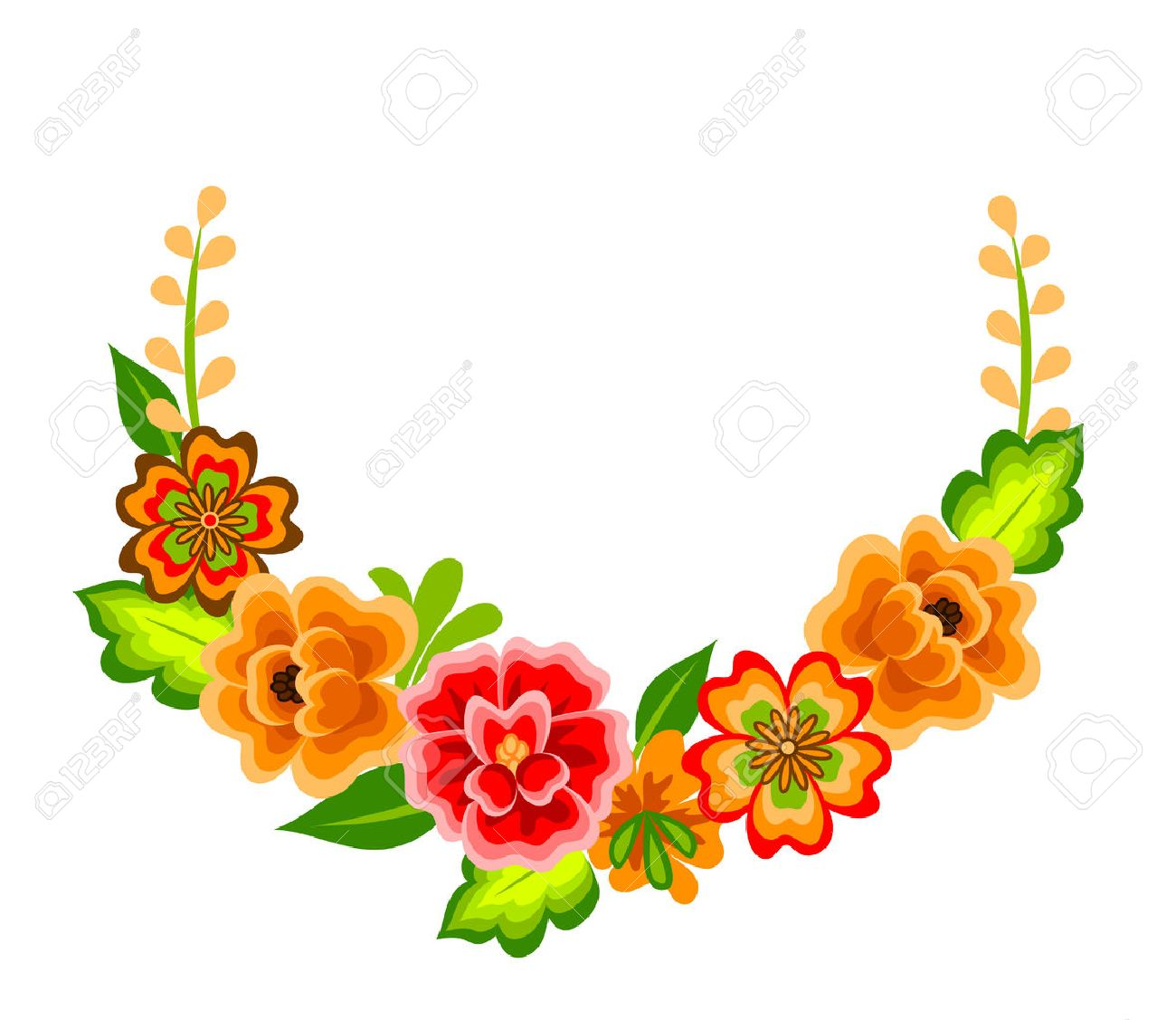 Wreath With Mexican Flowers. Floral Decoration Isolated On White ...