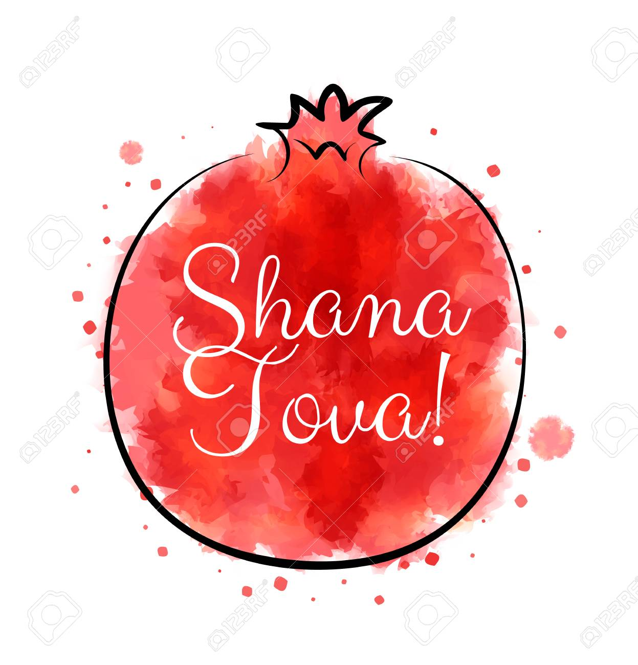 Red Watercolor Pomegranate With Greetings For Jewish Holiday Rosh