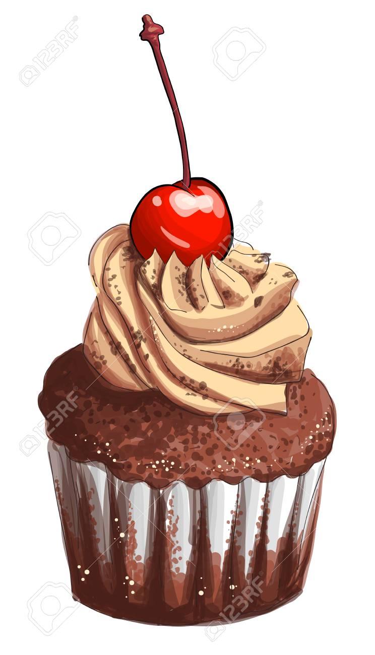 Schokoladen Kuchen Mit Sahne Und Kirschen Von Hand Gezeichnet Bunte