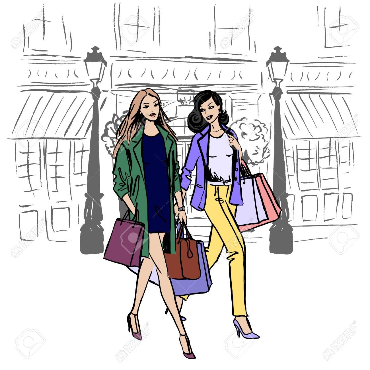 Caminando mujer y hombre con bolsas de compras. Ilustración dibujada a mano. Bosquejo de moda