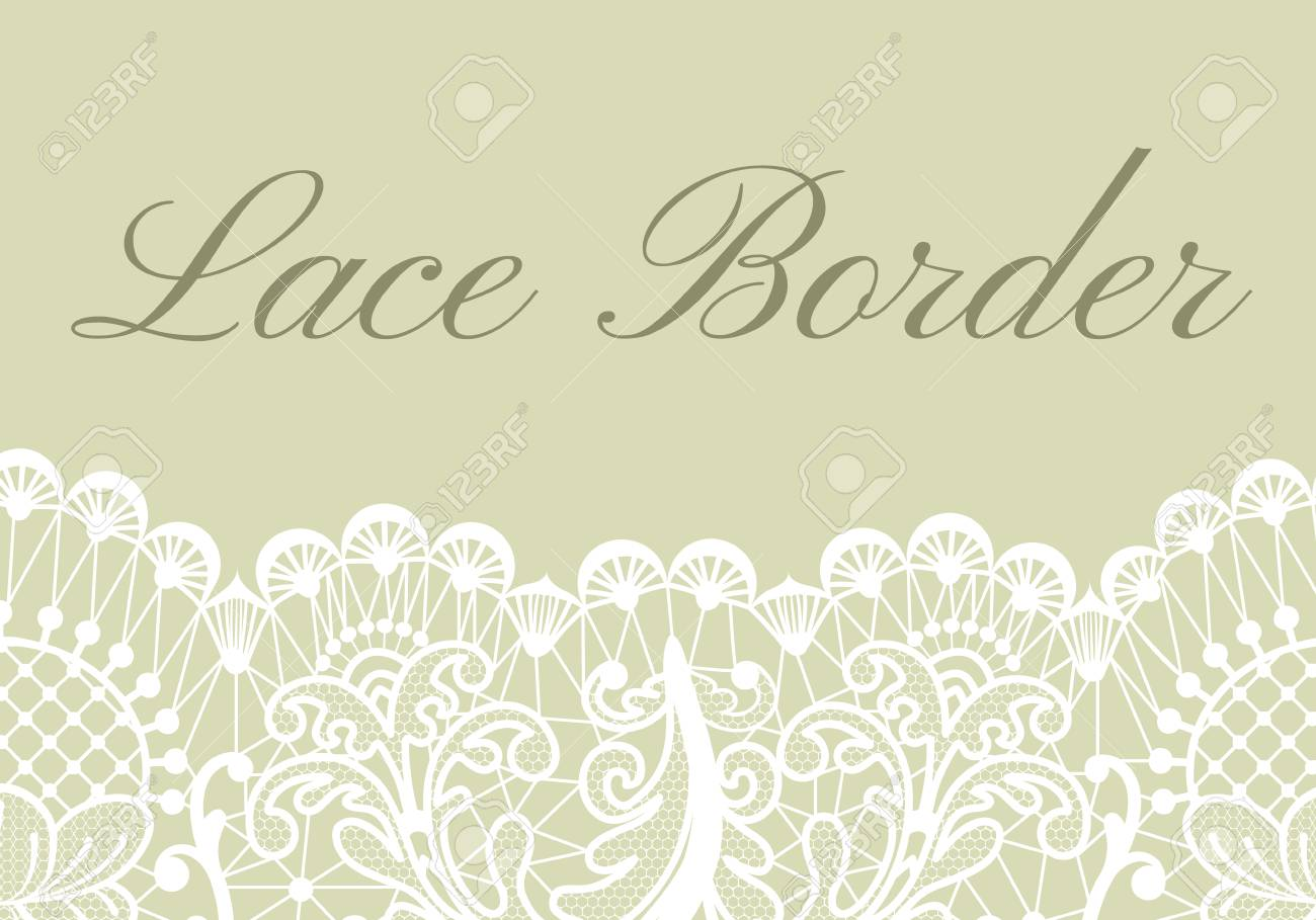template of card with white lace border on green background royalty