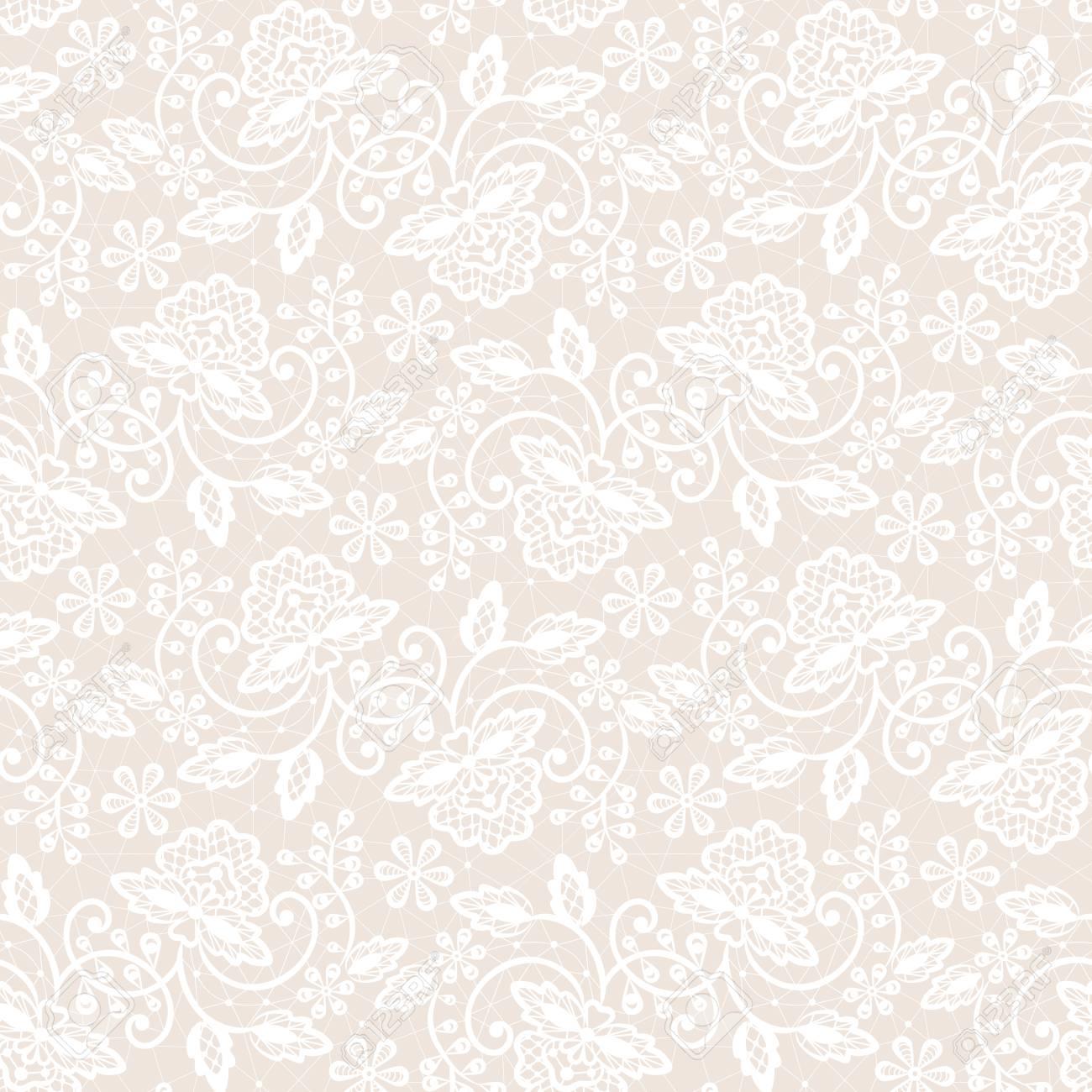 Seamless white lace - 87766433