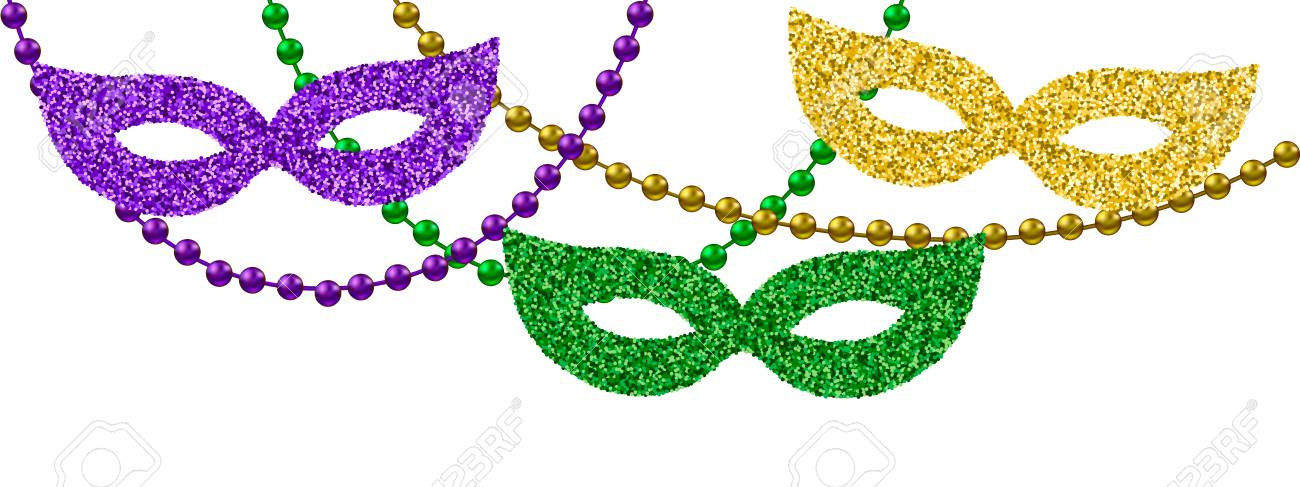 eb815c23d5f Mardi Gras Decoration With Beads And Masks Royalty Free Cliparts ...