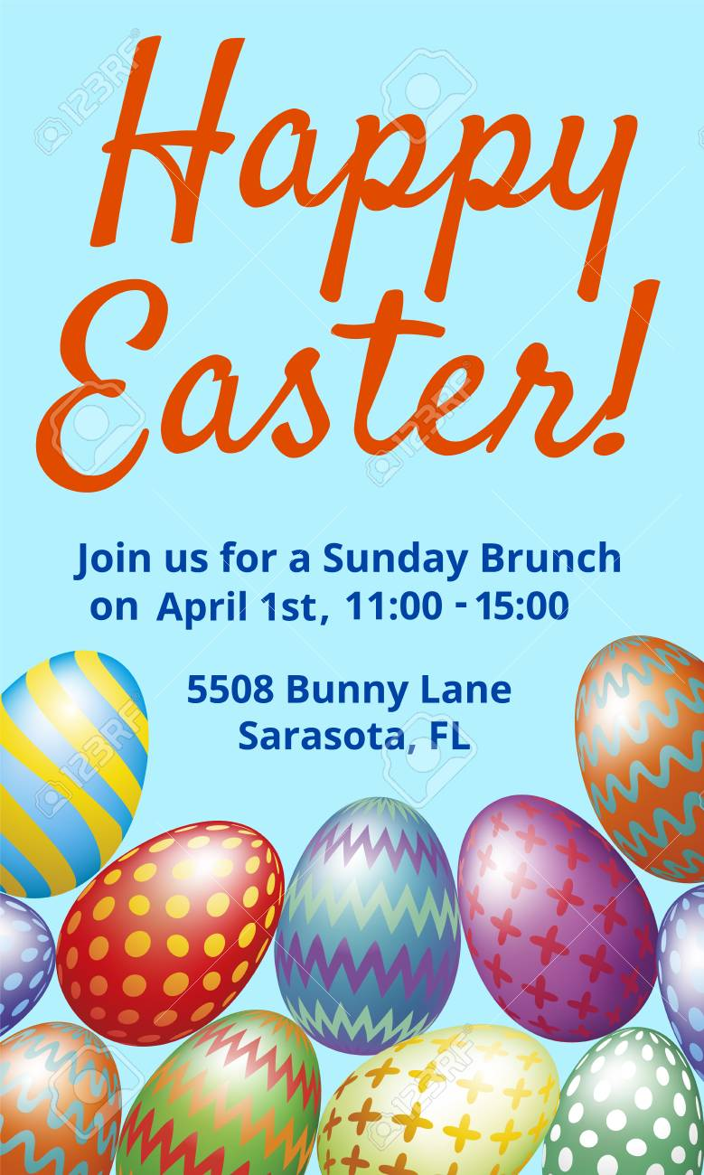 Easter Brunch Invitation Card With Easter Eggs On Blue Background