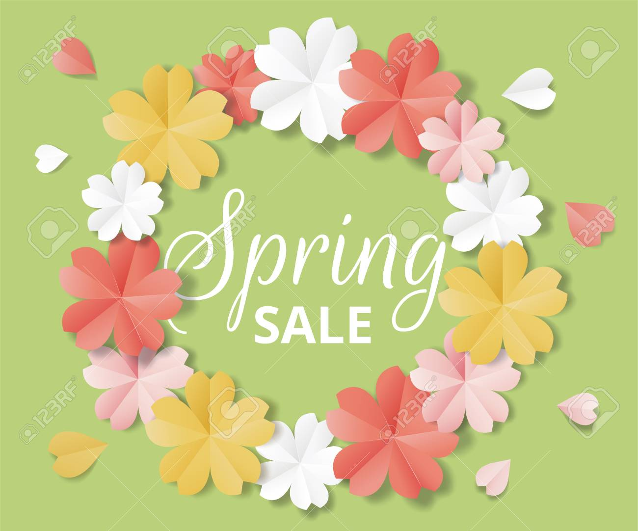 Colorful Paper Flowers With Text Spring Sale Vector Illustration