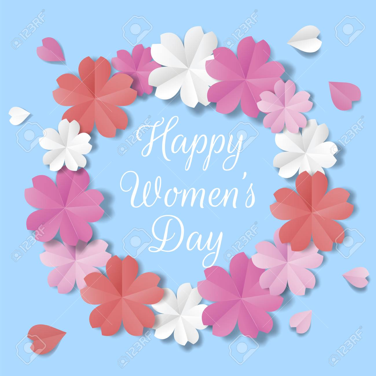 Womens Day Origami Flowers Poster Royalty Free Cliparts Vectors