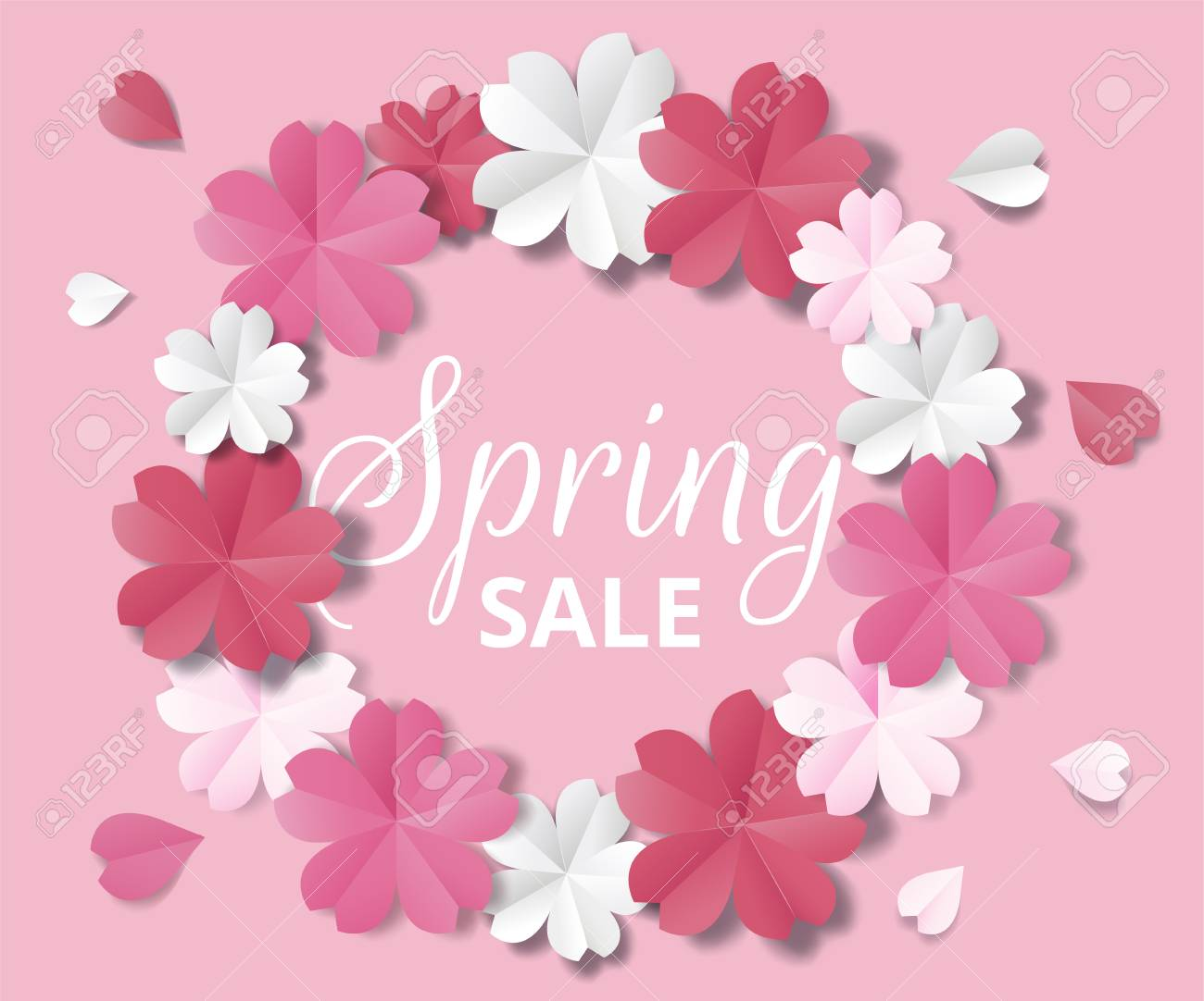 Spring Sale Banner Paper Flowers On Pink Background In Origami
