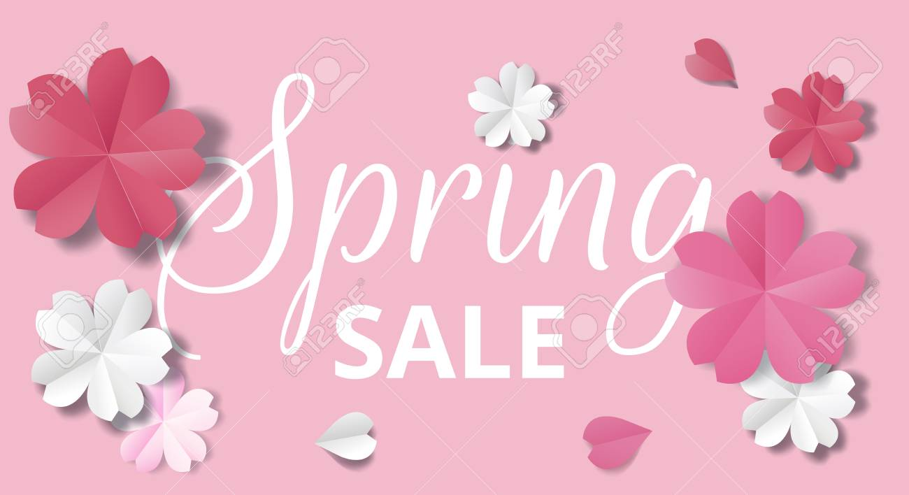 spring sale horizontal web banner paper flowers on pink background in origami stale stock vector