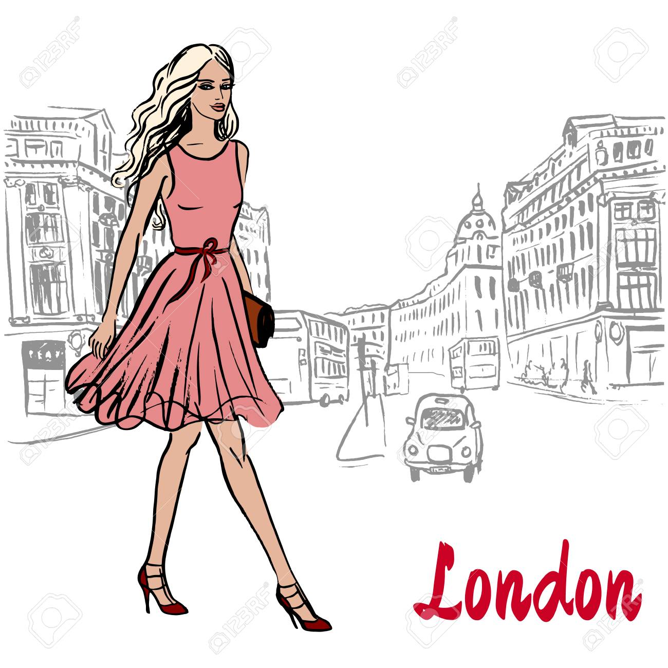 Image result for free cartoon images of a woman walking around london