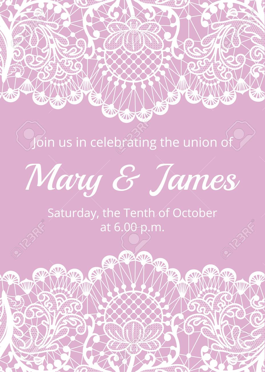 Wedding Invitation Template With White Lace Border On Pink Background