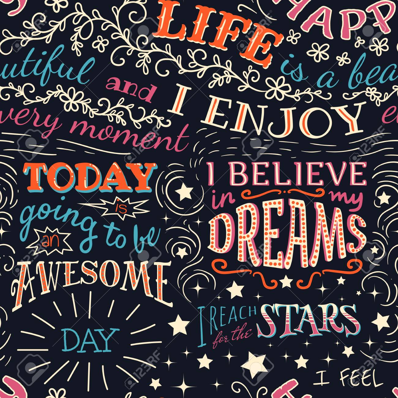 Colorful lettering with positive affirmations. Seamless pattern - 118863998