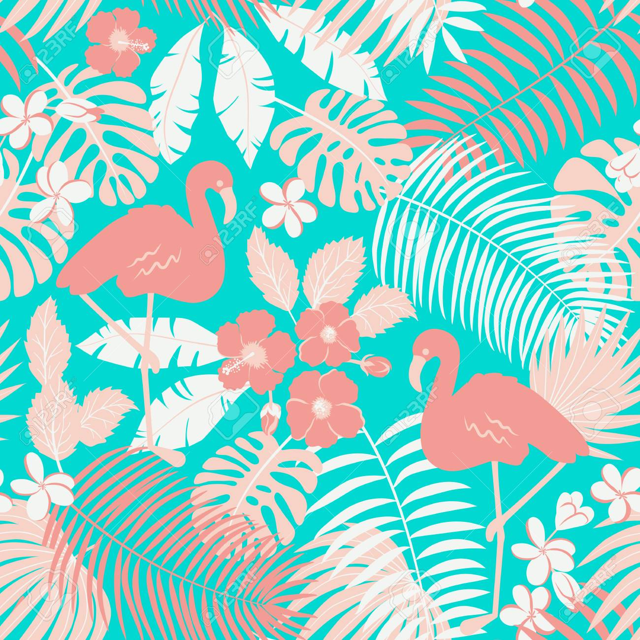 Tropic seamless pattern with flamingo, palms and flowers - 122910615