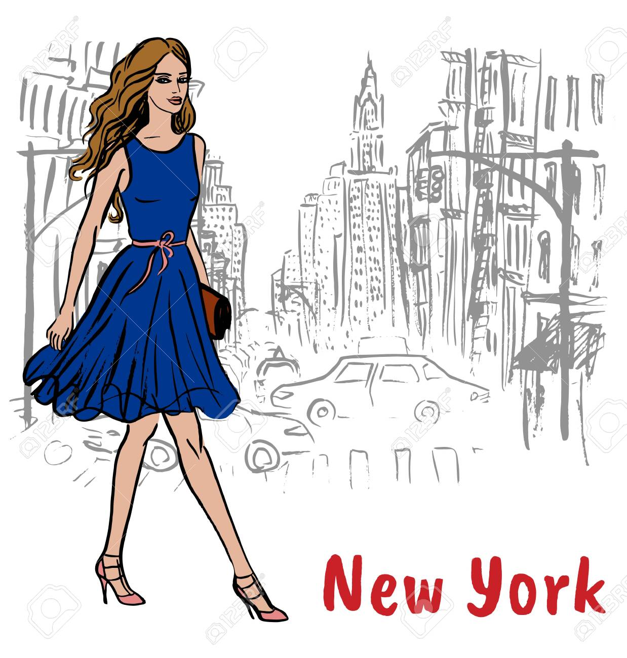 Young woman in New York, USA. Fashion illustration - 124039931