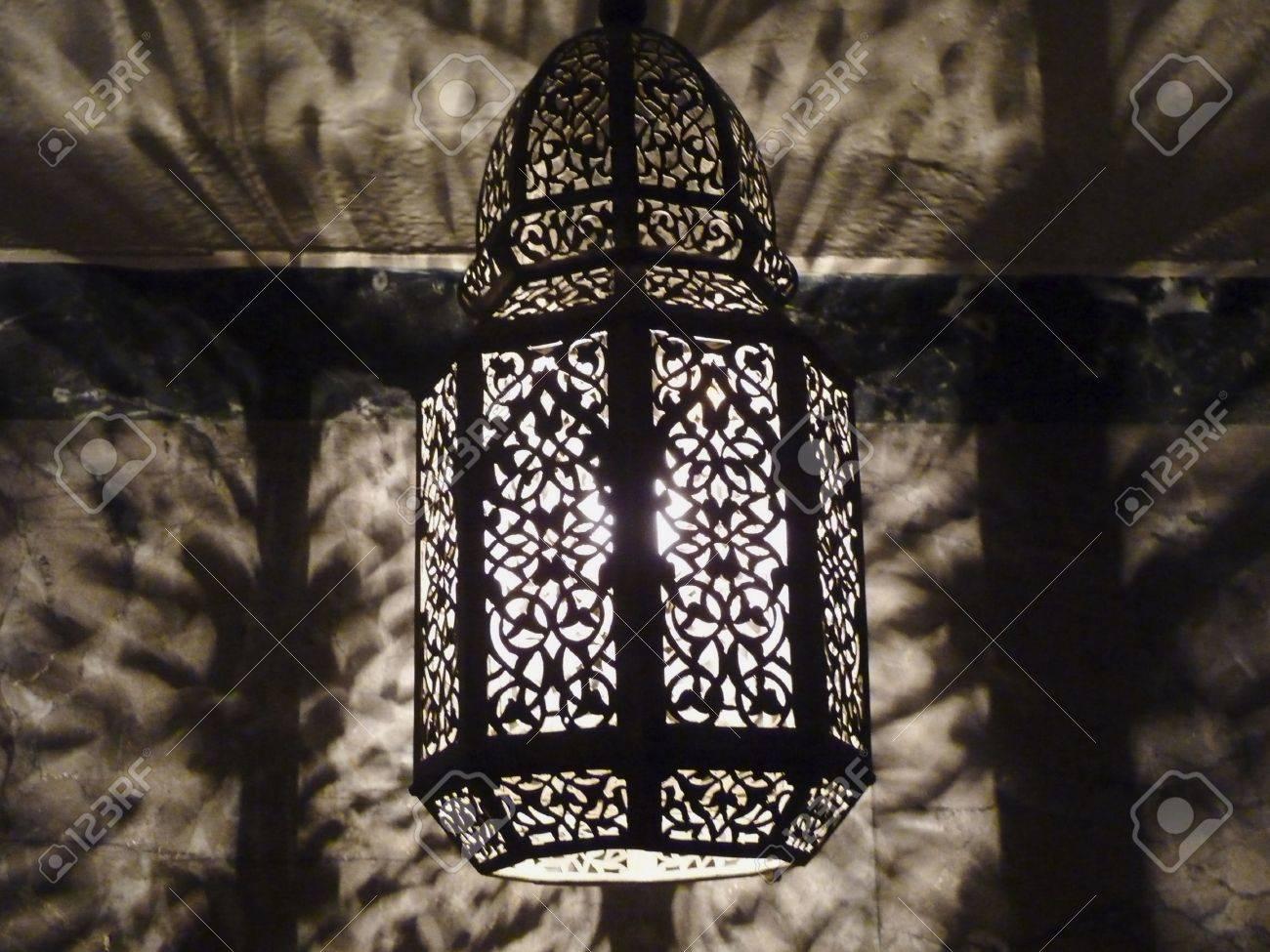 Moroccan Ornate Pierced Metal Filigree Lamp Casting Intricate ...