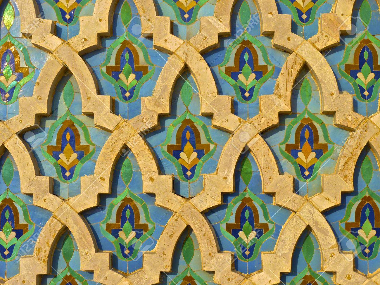 Moroccan Tile On The Wall Of The Mosque Hassan II In Casablanca ...