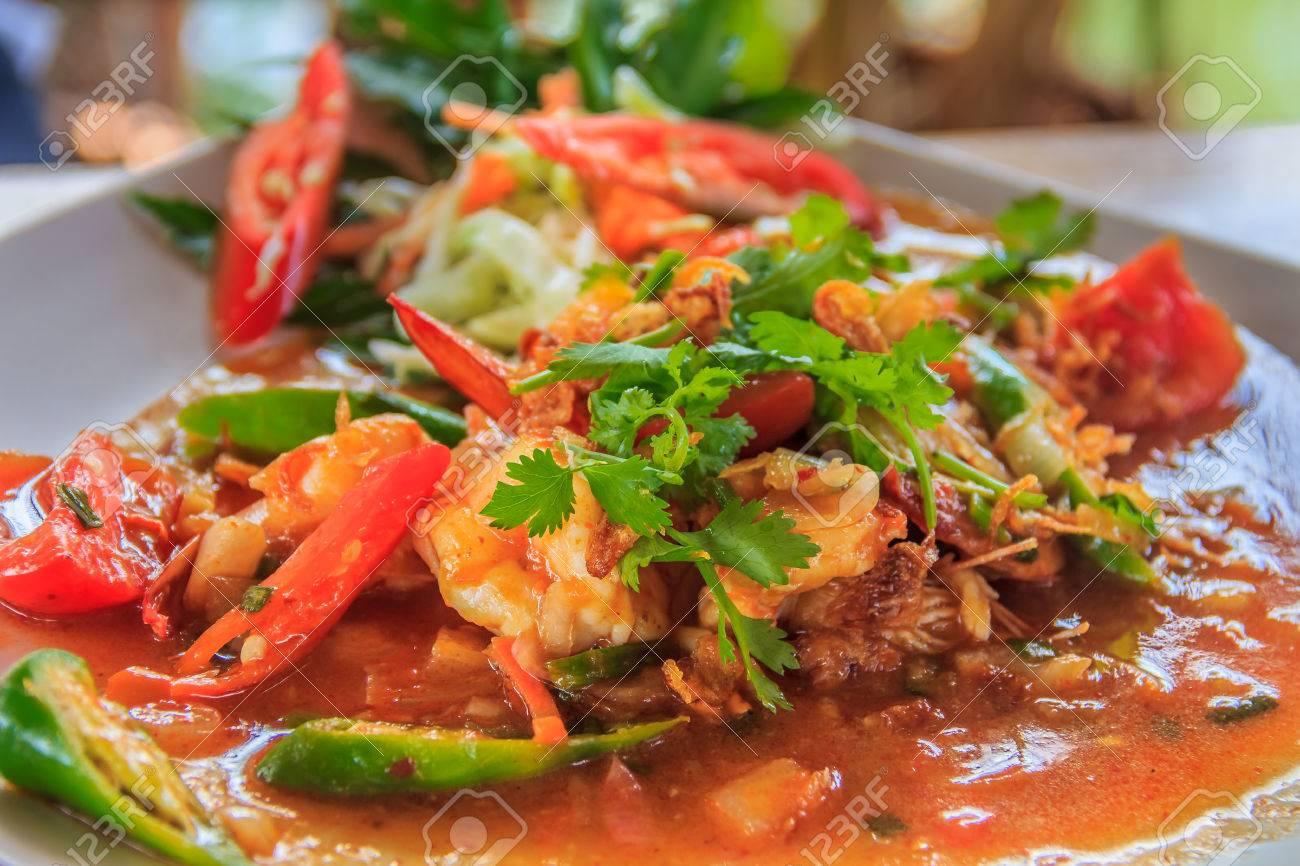 Traditional Thai Spicy Shrimp Stew Street Food In Krabi Thailand
