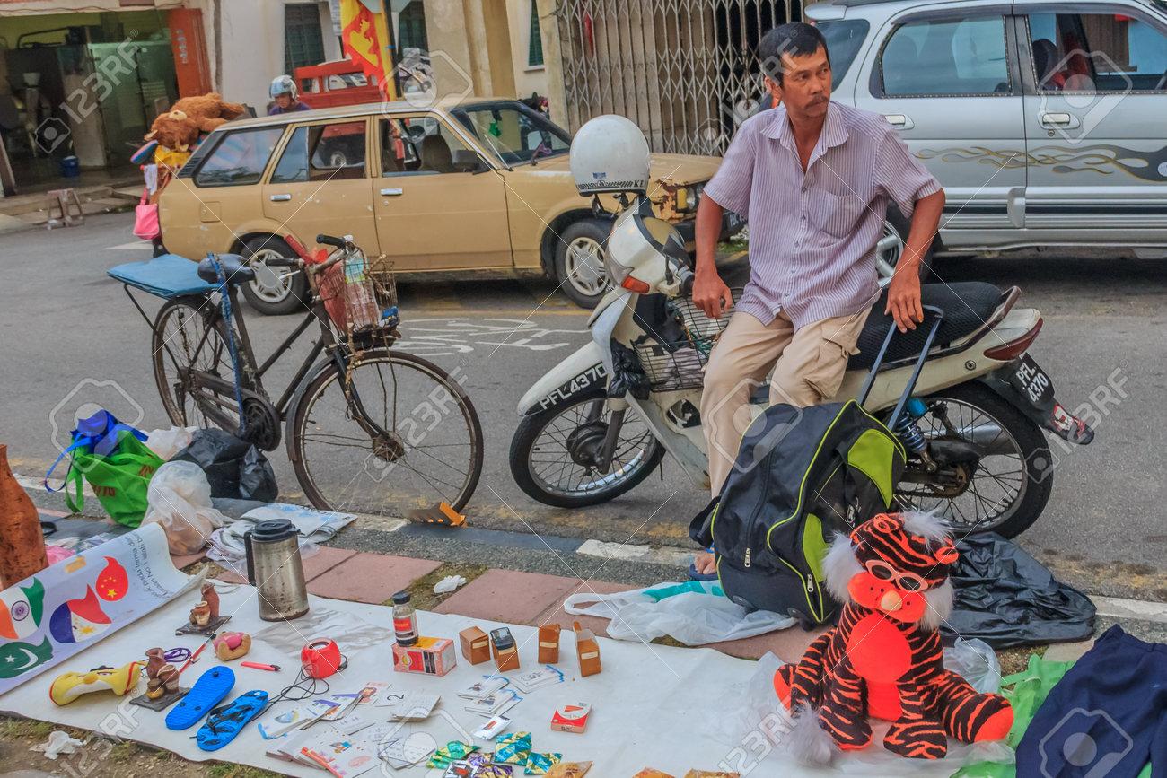 Georgetown Penang Malaysia August 17 2013 Street Vendor Cart