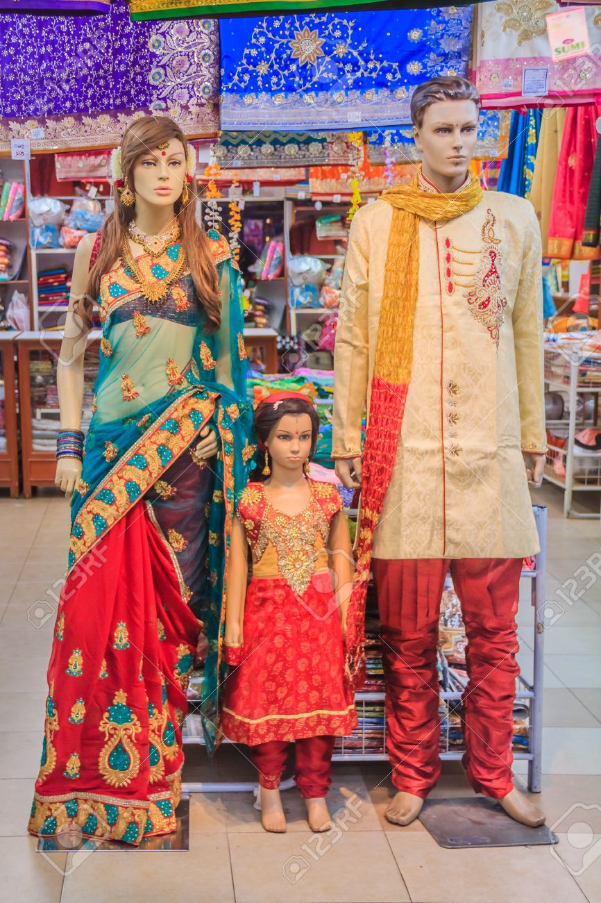 Mannequin Family Dressed In Traditional Indian Colorful Clothing ...