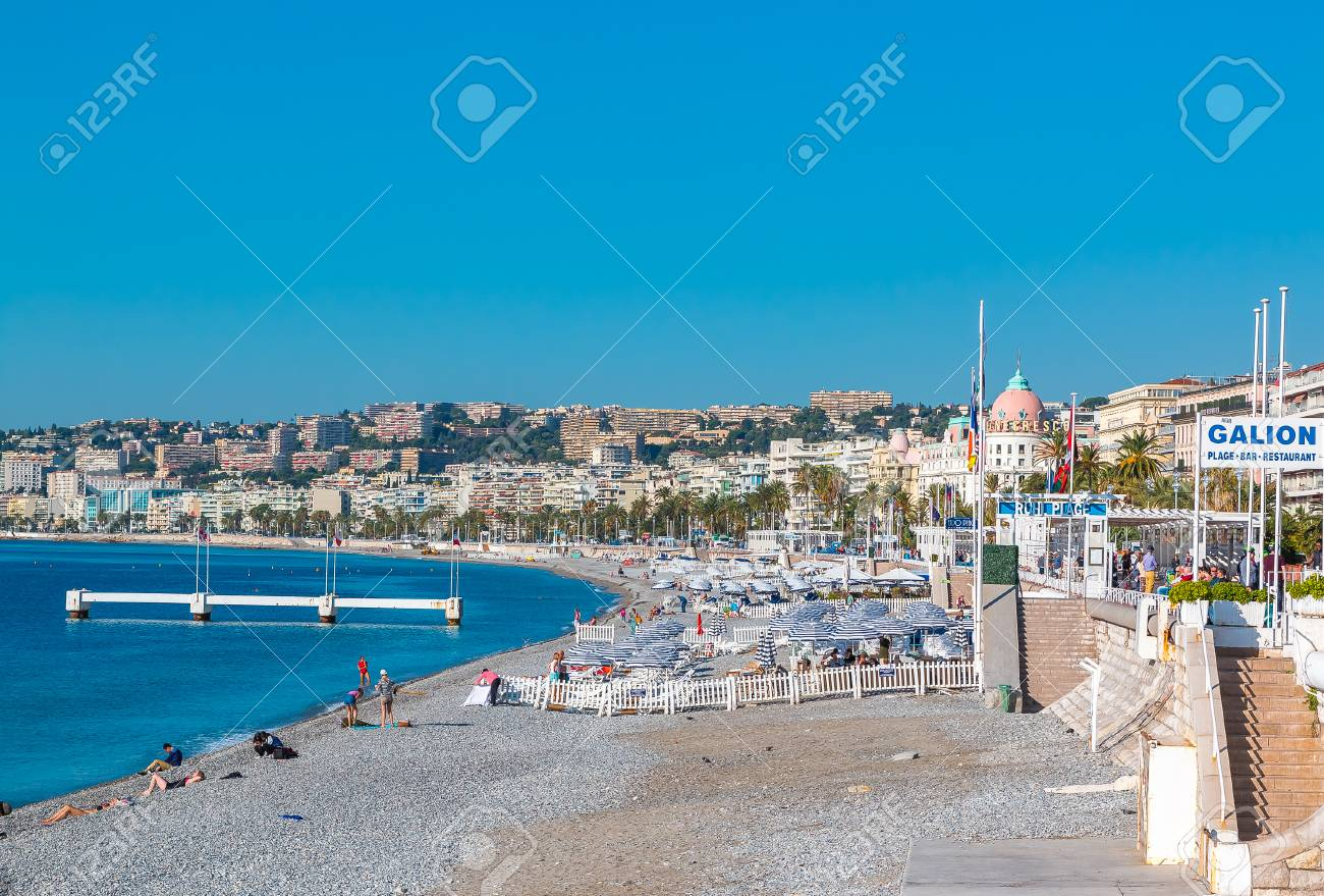 nice france october 6 2016 view of nice coastline on the mediterranean