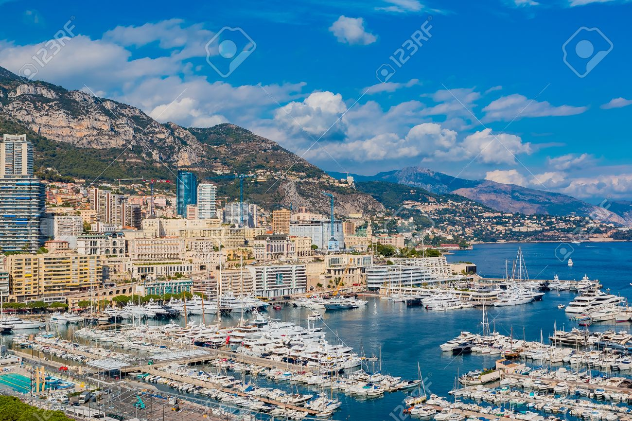 Monte Carlo City Marina View Of Luxury Yachts And Apartments
