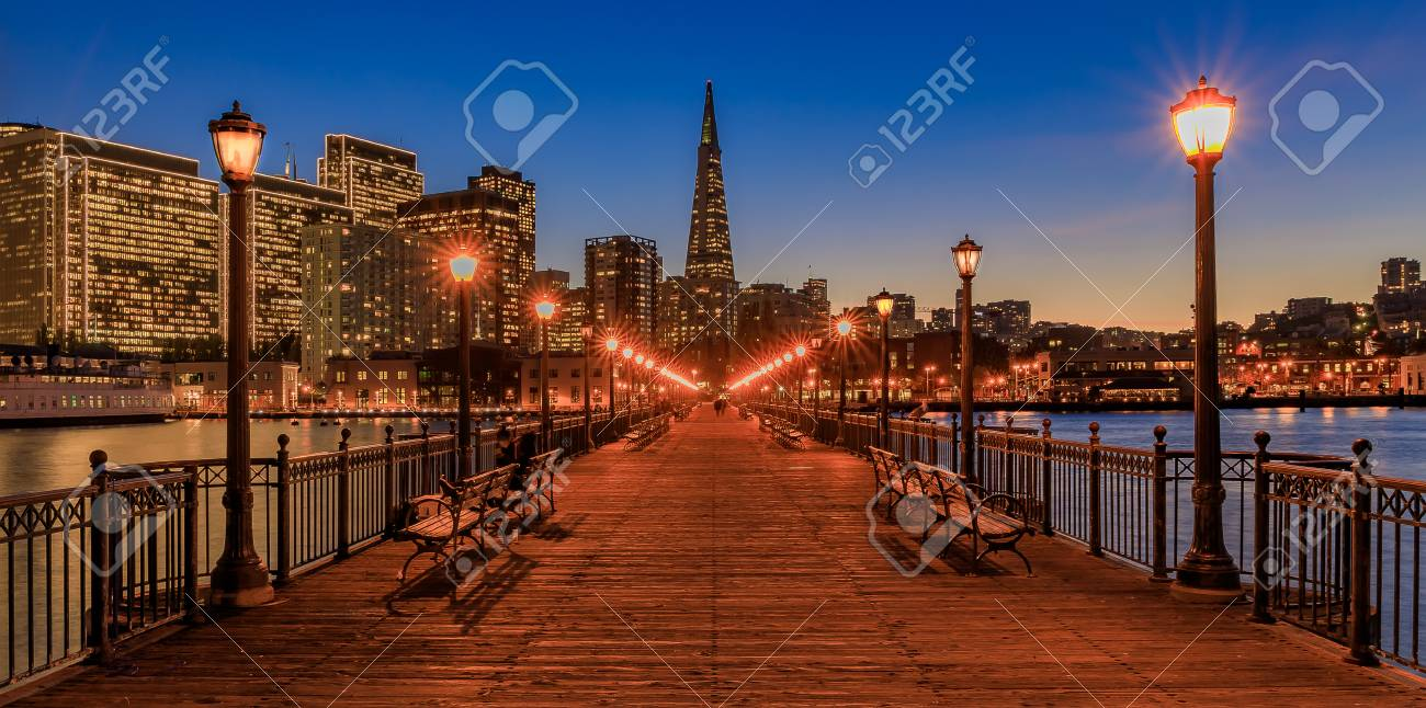 panoramic view of the embarcadero buildings decorated for christmas