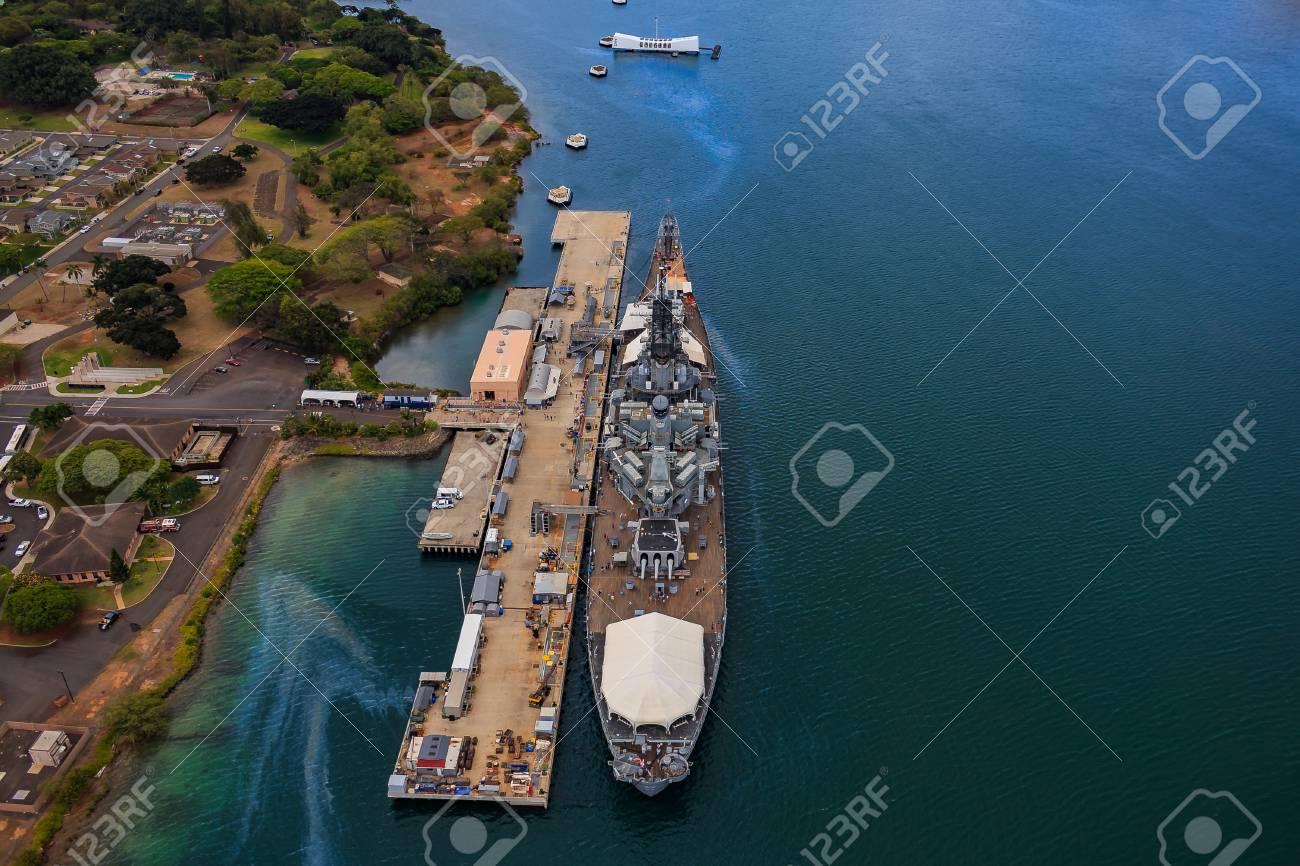 Aerial View Of Uss Missouri Bb 63 Battleship And Uss Arizona