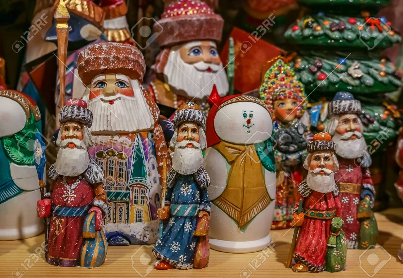 Russia Christmas Ornaments.Colorful Christmas Ornaments Of Russian Santa Claus Or Ded Moroz