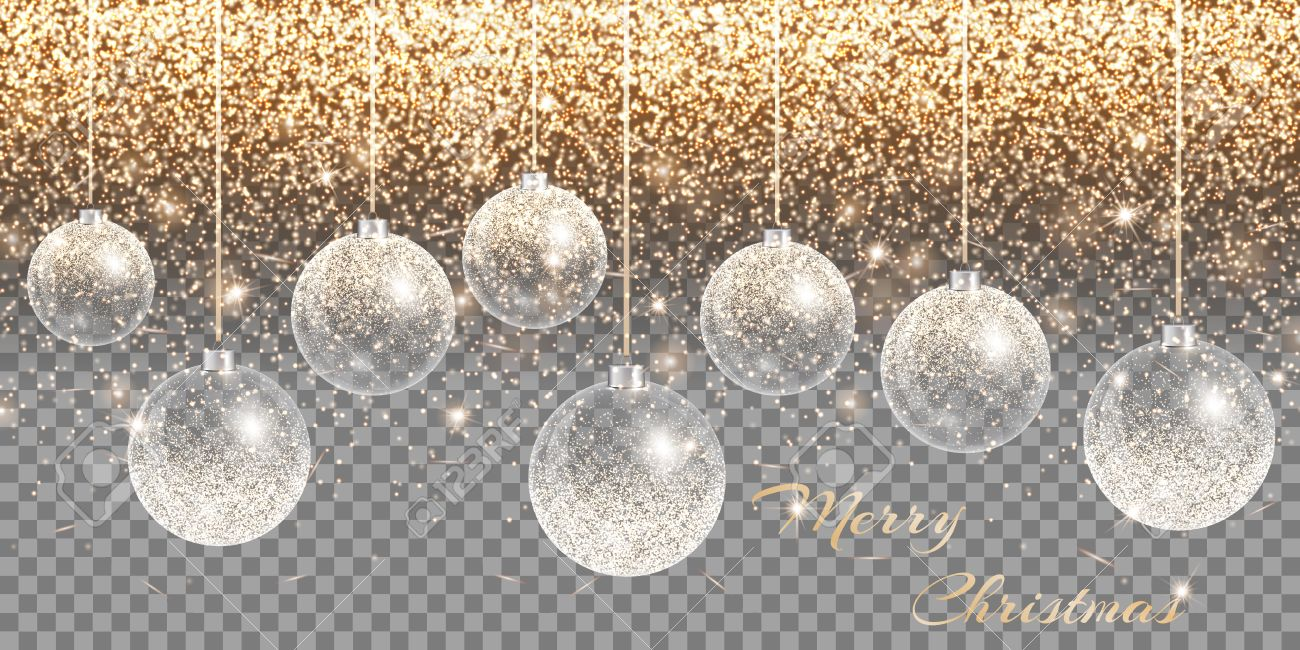 christmas decoration transparent background new year ball holiday lights sparkle vector stock vector