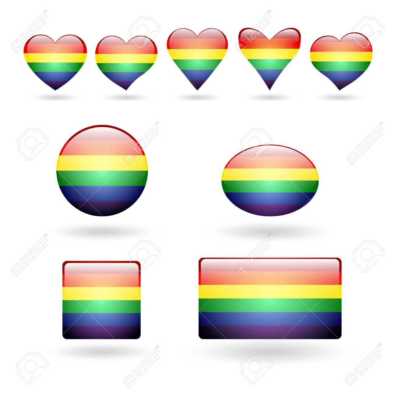 A Set Of Gay Pride Symbols With A Rainbow Flag Coloring 3d Buttons