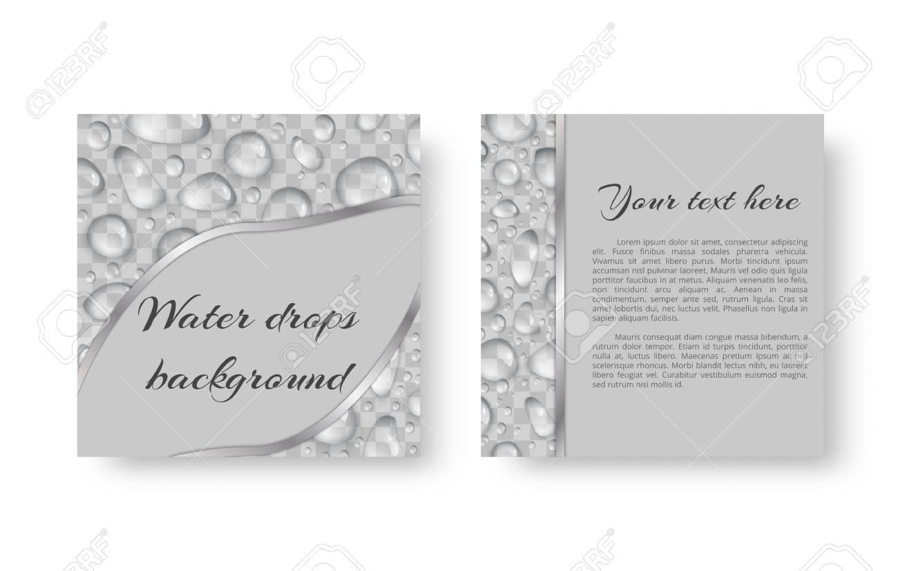 Diseño De Tarjeta De Invitación Para Un Evento Ambiental Con Brillantes Brillantes Gotas De Agua