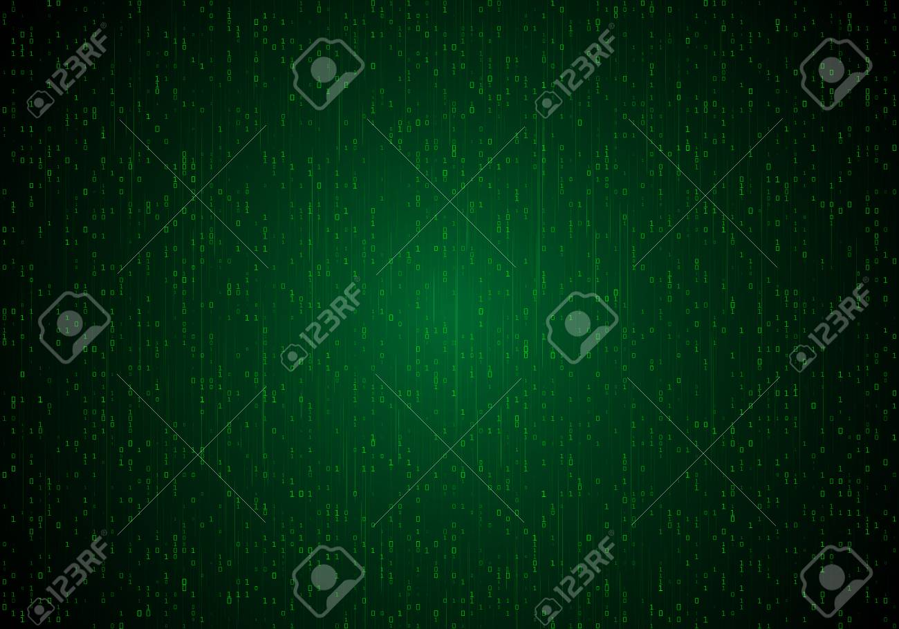 Bright neon background with a stream of binary code  Abstract