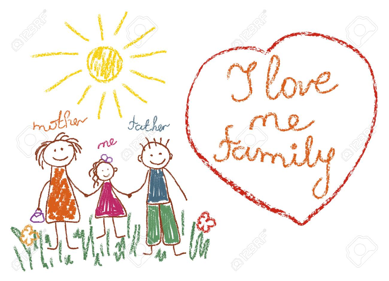 Children S Drawing With Pencils Family Mom Dad Me Heart With Stock Photo Picture And Royalty Free Image Image 123281182
