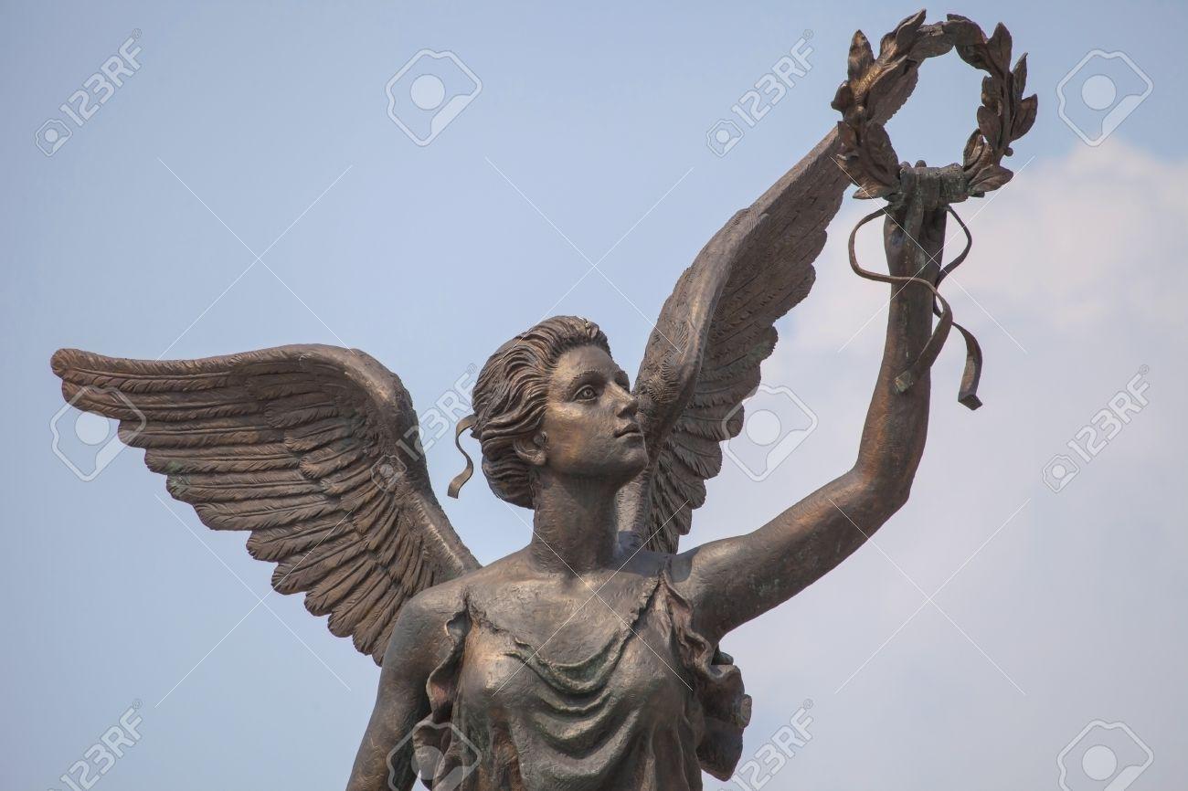 detail of monument to goddess of victory nike in kharkov ukraine
