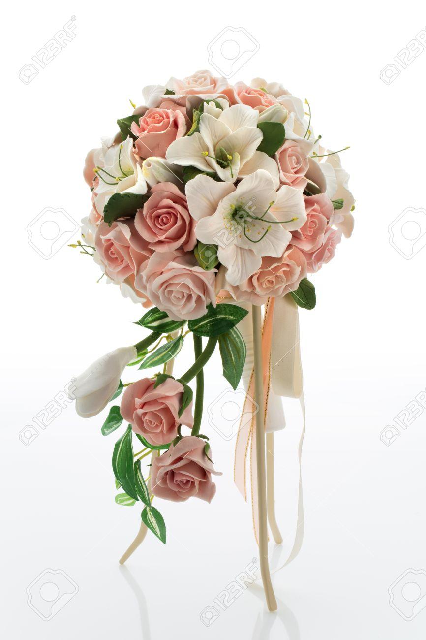 Stilvolle Hochzeitsstrauss Mit Pfirsichfarbenen Rosen Und Lilien Auf