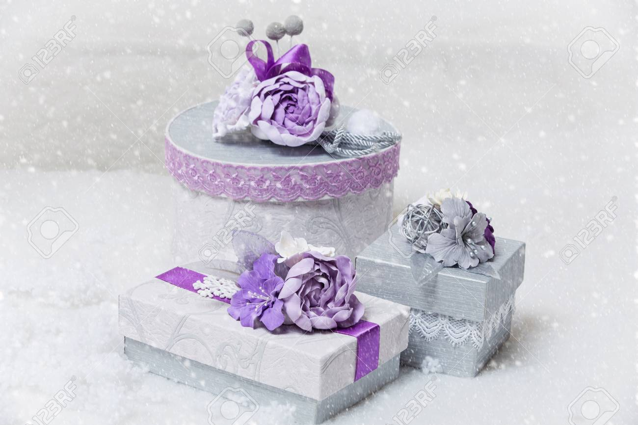 Set Of Three Beautiful Handmade Wedding Present Boxes Ornated ...
