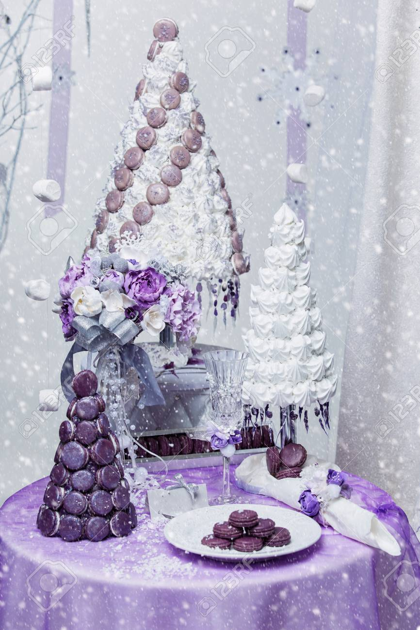 Beautiful Set Of Three Handmade White And Purple Croquembouche Stock Photo Picture And Royalty Free Image Image 66030947