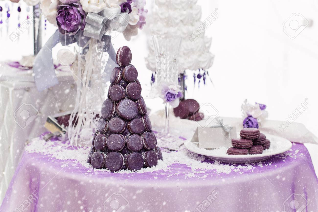 Beautiful Set Of Three Handmade White And Purple Croquembouche Stock Photo Picture And Royalty Free Image Image 66030948