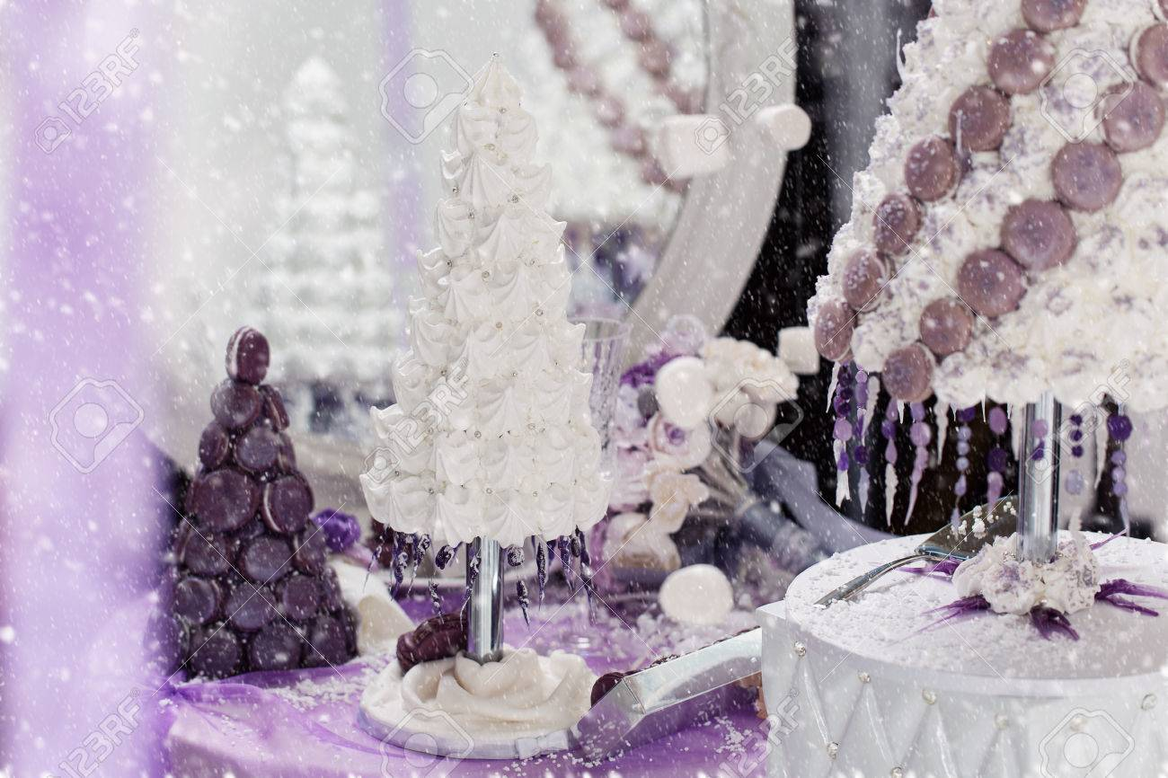 Beautiful Set Of Three Handmade White And Purple Croquembouche Stock Photo Picture And Royalty Free Image Image 66030951