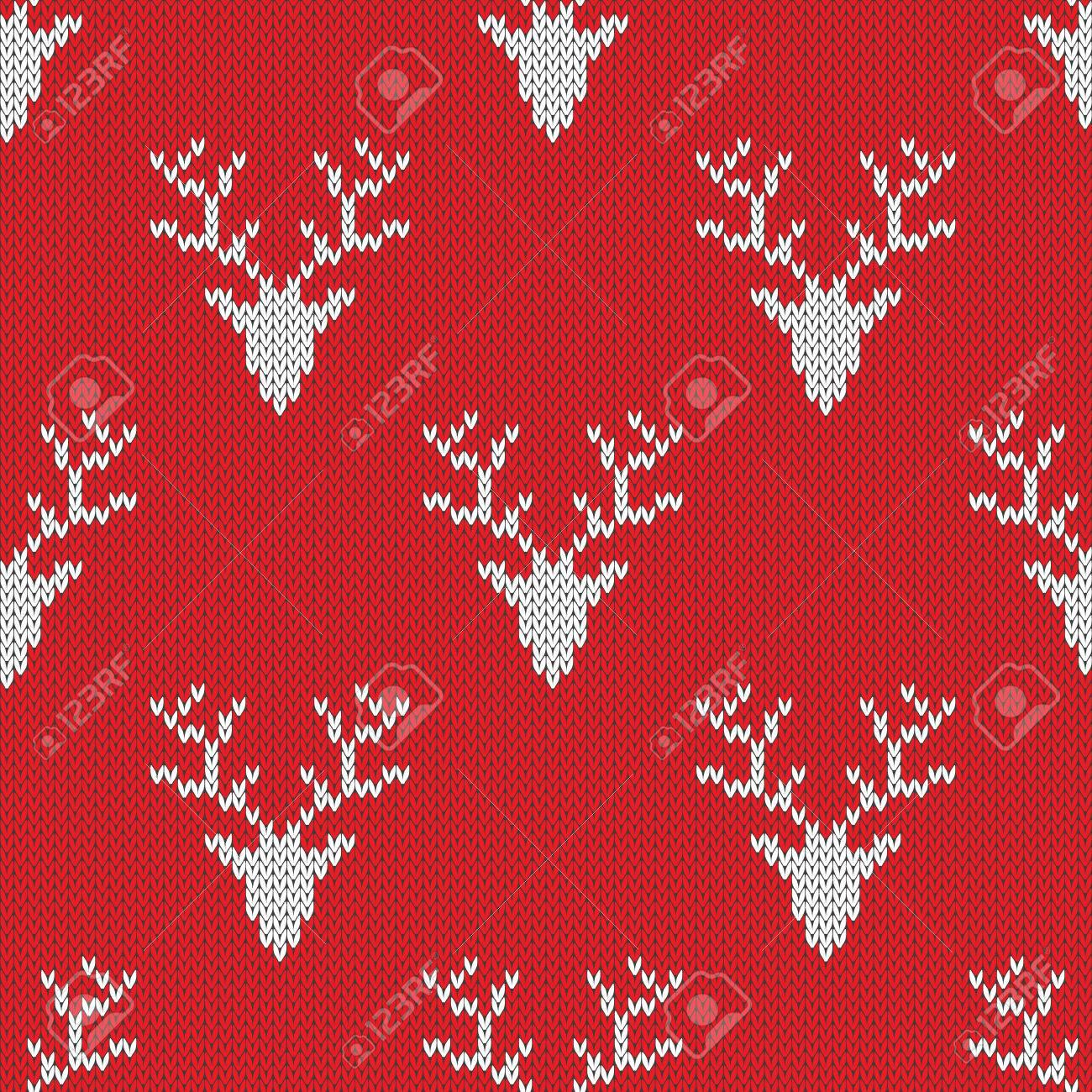 Pull En Tricot Rouge Avec Des Cerfs Seamless Peut Etre Utilise Pour
