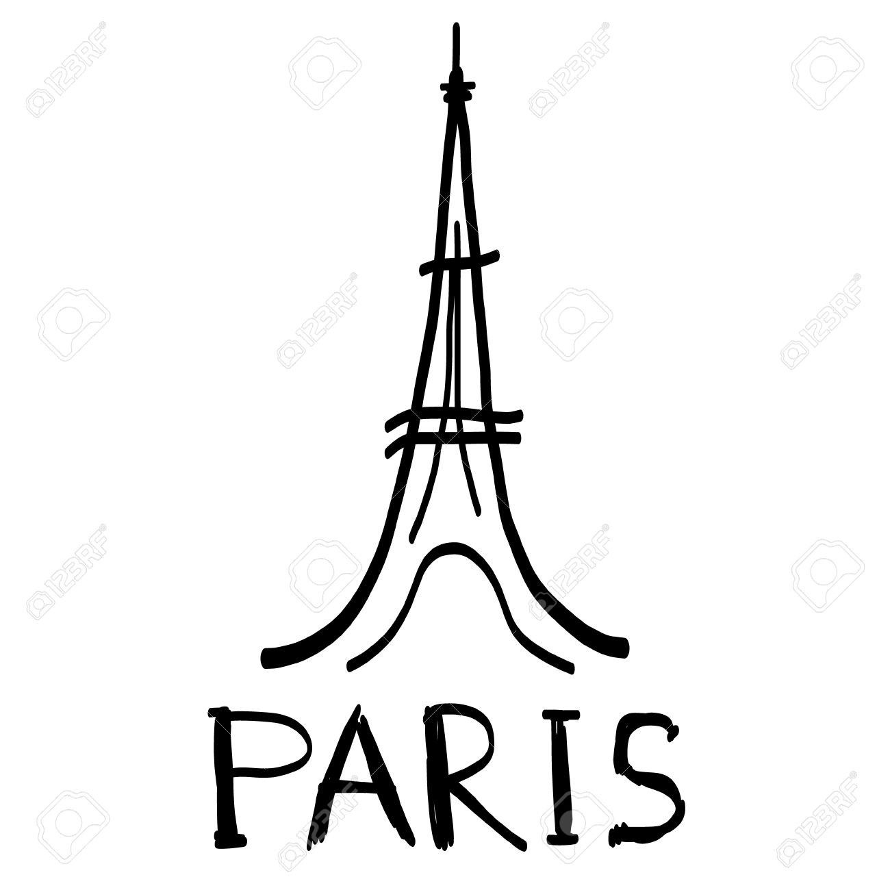 eiffel tower icon in sketch style with hand drawn word paris